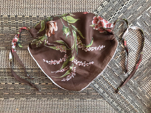 Vintage Up-cycled Choc and Floral Silk Face Covering