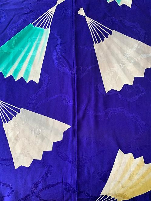 Blue Fan Handpainted Silk