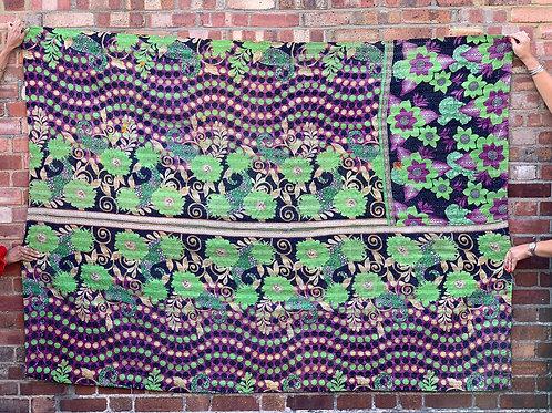 Vintage Handmade Purple Floral Kantha Bedspread