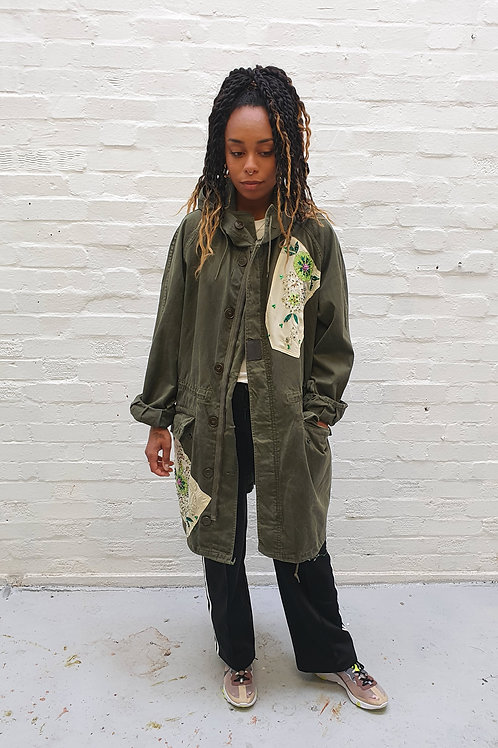 Up-cycled vintage Army Parka with vintage sari panels