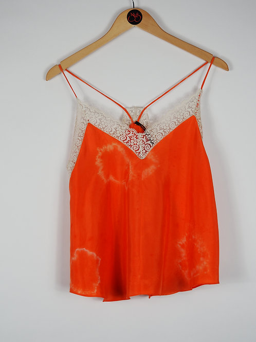 Repurposed Orange Tie-Dye Camisole Made from Vintage Silk Kimono Lining