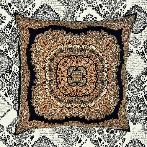Up-cycled Blue Paisley Cushion Made From Vintage Silk Scarf