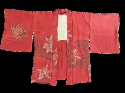 Vintage Pink Silk Kimono with Flower Detail