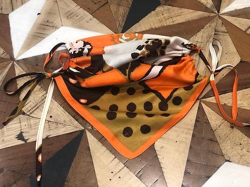 MASUKU Orange Print Silk Face Covering