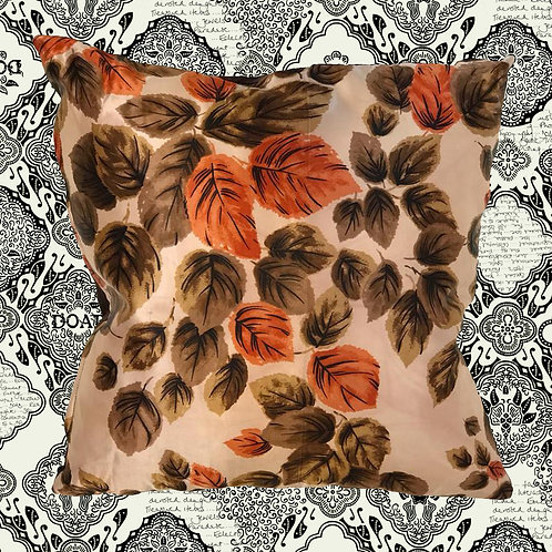 Up-cycled Autumn Leaves Cushion Made From Vintage Silk Scarf