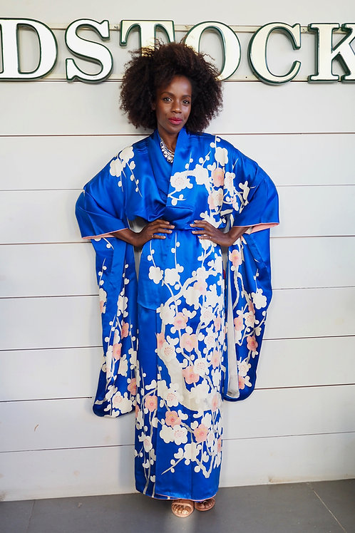 FURISODE Blue Hand-painted