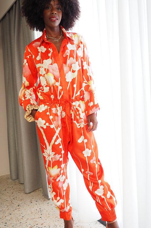 Repurposed Silk Jumpsuit Made from Vintage Silk Kimono