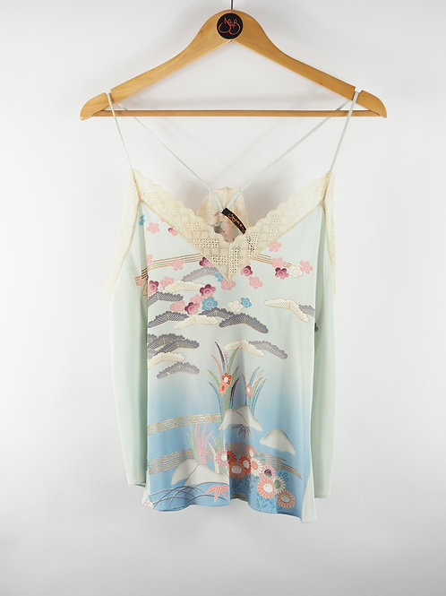 Repurposed Pale Blue Camisole Made from Vintage Silk Kimono