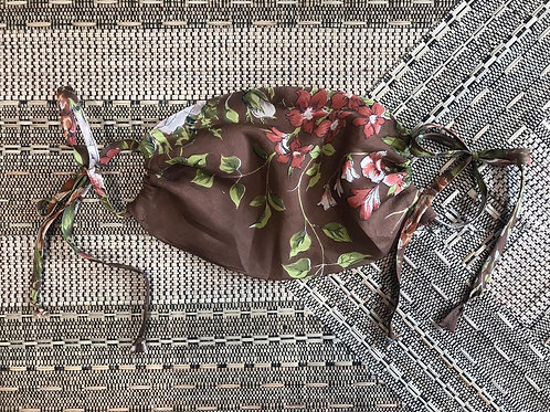 Vintage Up-Cycled Choc Silk Face Covering with Flower Detail