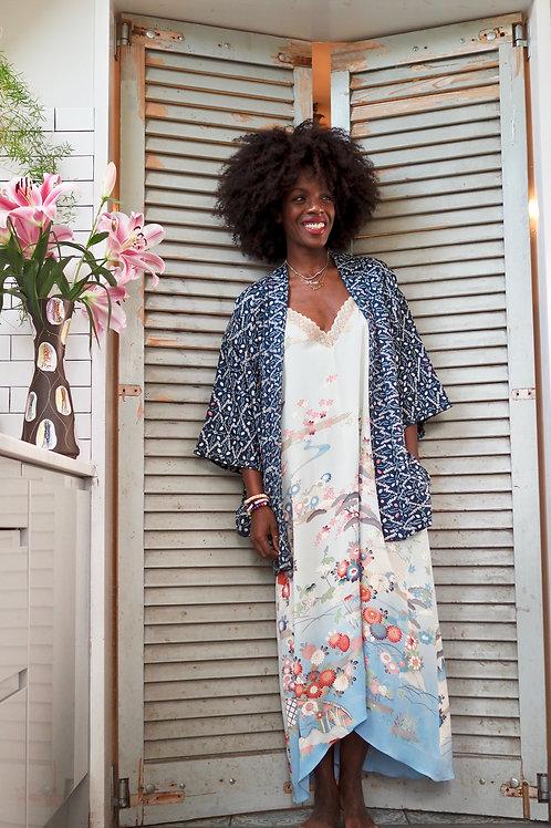 Repurposed Blue Floral Slip Dress Made from Vintage Silk Kimono
