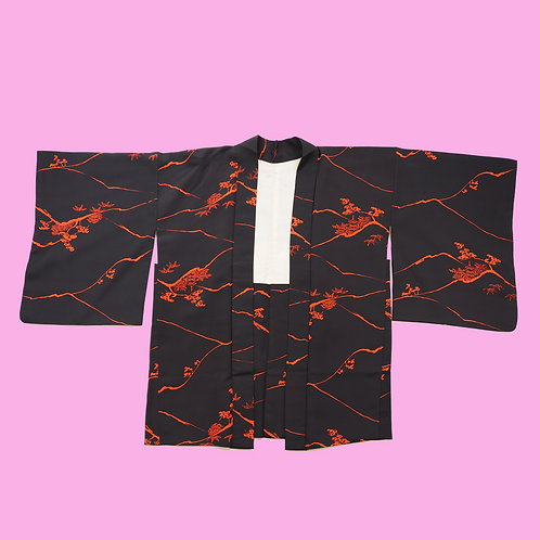 Vintage Black and Red Hand-painted Silk Kimono