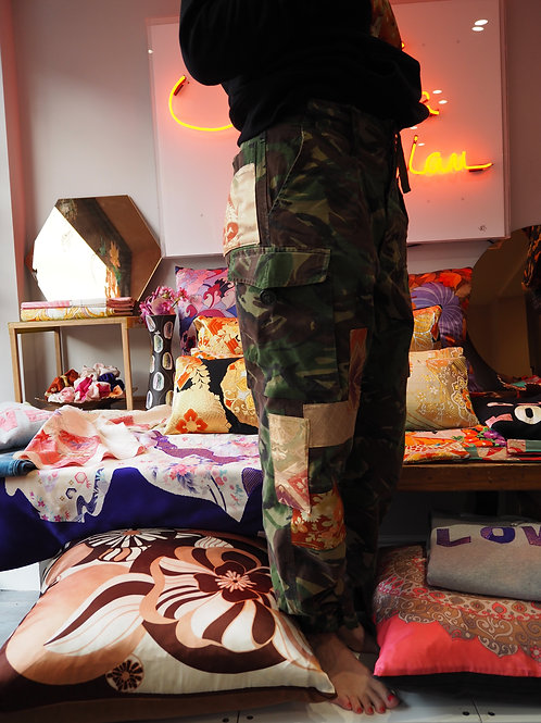 Customised Up-cycled Army Pant with Obi and Kimono Applique