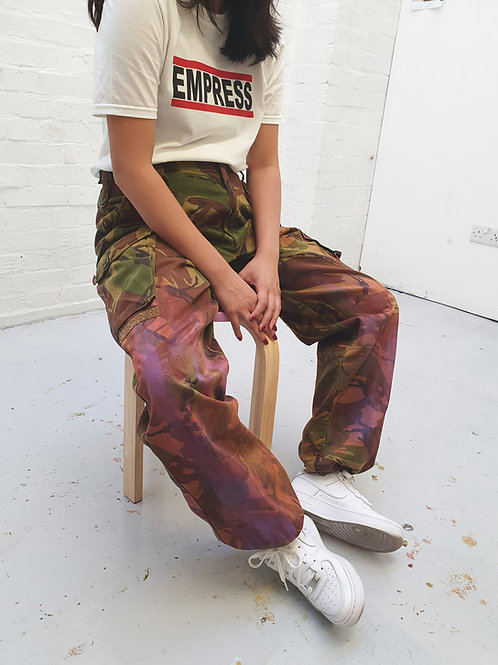 Up-cycled vintage army pants with diamanté details