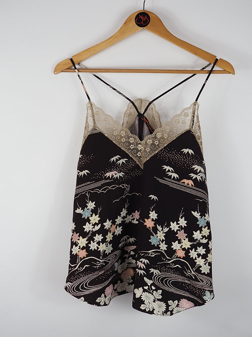 Repurposed Choc Floral Camisole Made from Vintage Silk Kimono
