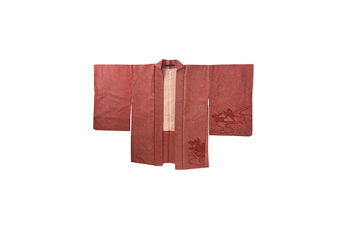 HAORI Red Silk Shibori
