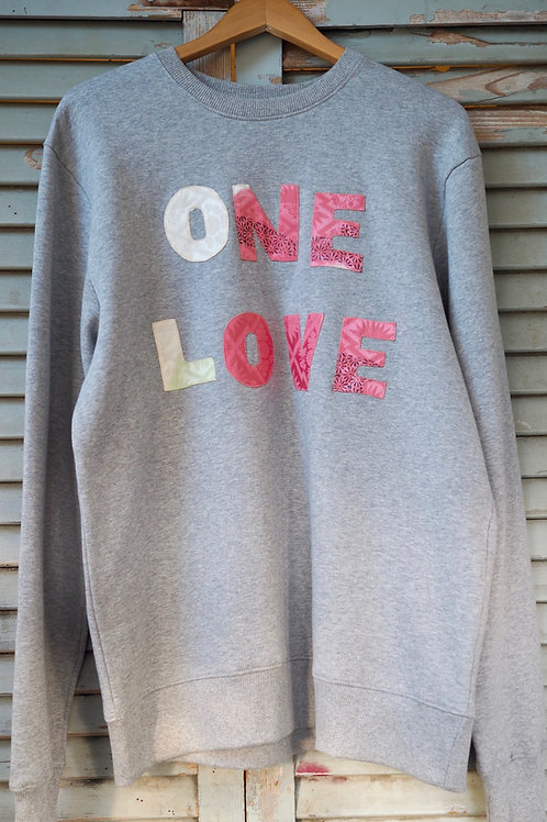Up-cycled Grey One Love Sweatshirt