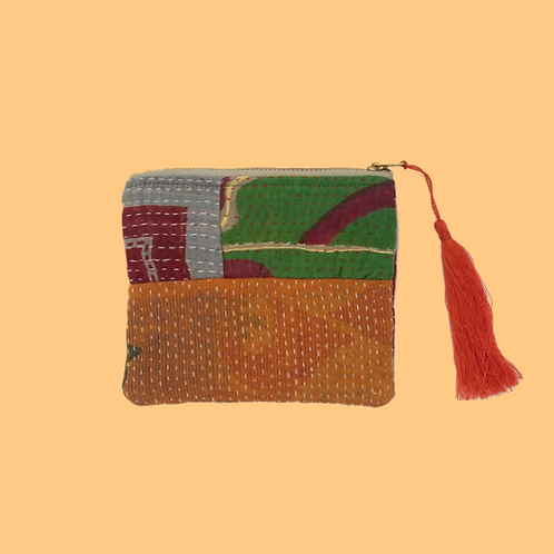 Up-cycled Coin Purse Made From Vintage Kantha