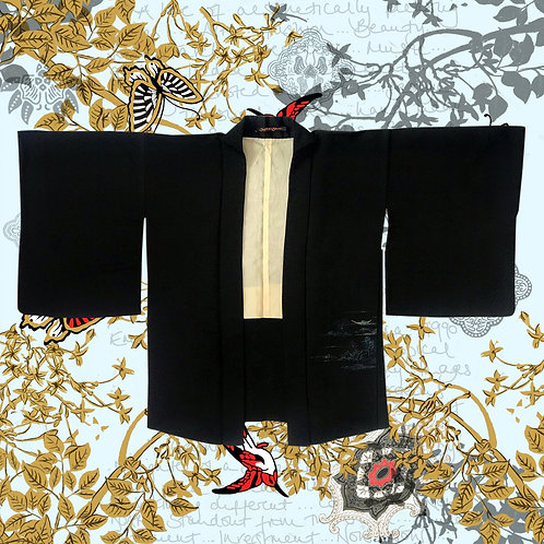Vintage Black Silk Kimono with Metallic Tree Pattern