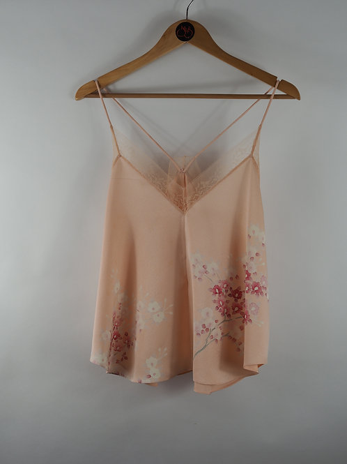 Repurposed Pink Floral Camisole Made from Vintage Silk Kimono