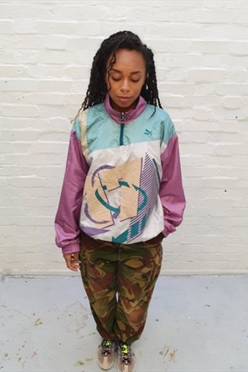 Vintage Grey and Purple Puma Shell Jacket