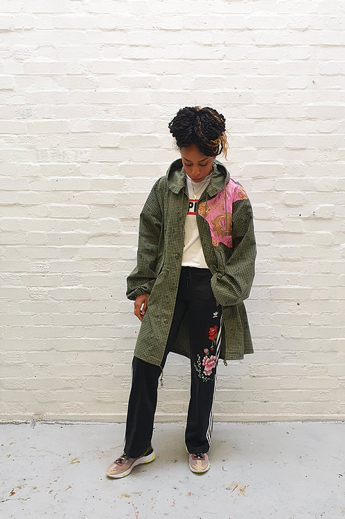 Up-cycled vintage army parka with vintage Indian beaded panel
