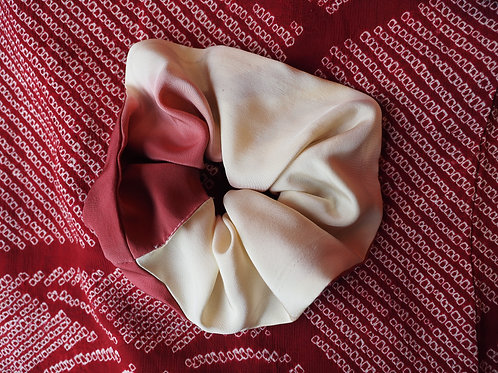 Vintage Pink and White Kimono Up-cycled Silk Hair Scrunchie
