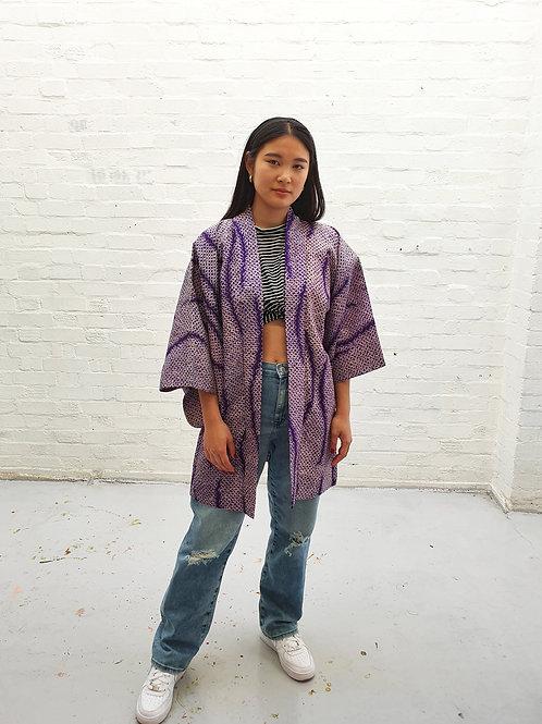 Vintage Shibori dye Kimono Purple