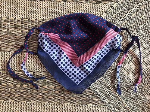 Vintage Up-cycled Navy Polka-dot Face Covering
