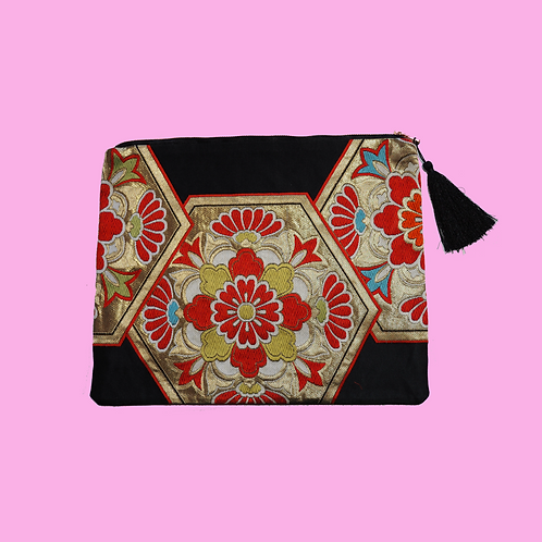 Up-cycled Clutch Bag Made from Vintage Black Obi