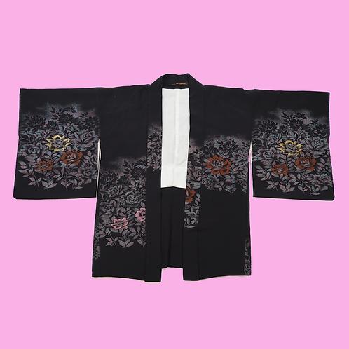 Vintage Black Silk Metallic Detail Kimono