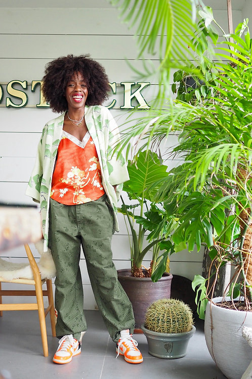 Up-cycled Camo Trousers with Applique Obi