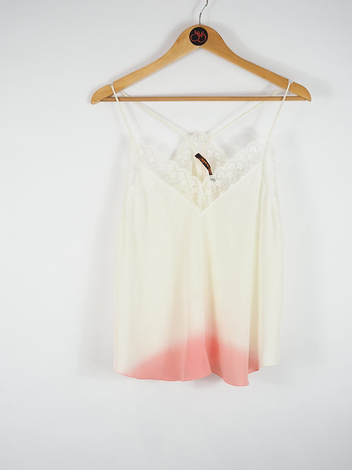 Repurposed White Camisole Made from Vintage Silk Kimono