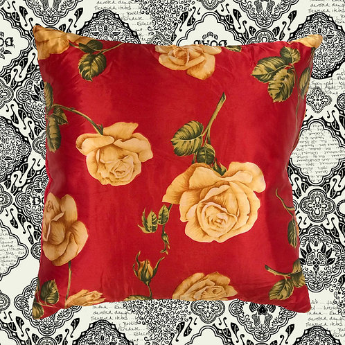 Up-cycled Rose Cushion Made From Vintage Silk Scarf