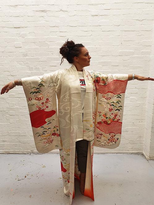 Vintage Long Silk Kimono Hand-painted