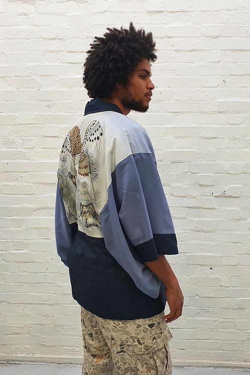 Vintage Unisex Kimono with hand painted hawk