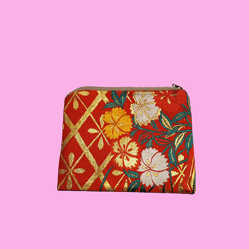Up-cycled Coin Purse Made from Vintage Red Obi