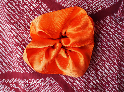 SHIRUKI Orange Silk Hair Scrunchie