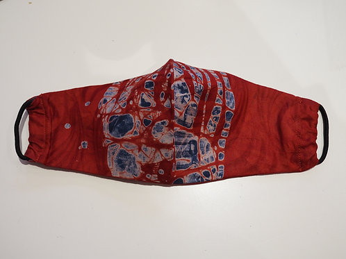 Red Cotton Hand Drawn Face Mask - Adults