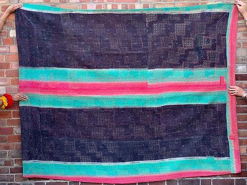 Vintage Handmade Black Striped Kantha Bedspread