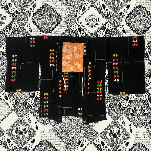 Vintage Black Silk Kimono With Bright Multi Colour Detail