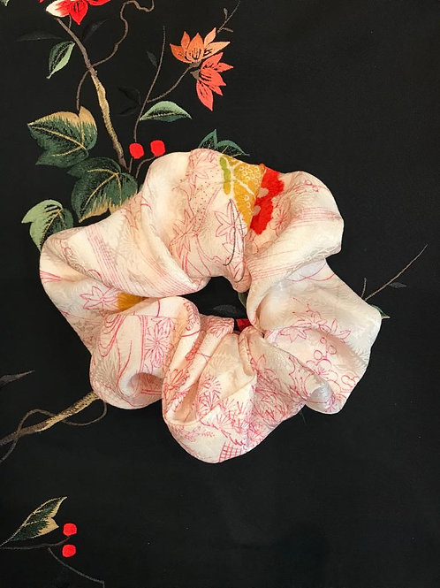 Vintage Up-cycled Pink Silk Hair Scrunchie Made From Vintage Kimono