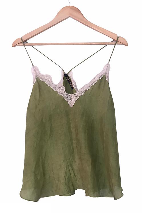 Repurposed Khaki Camisole Made from Vintage Silk Kimono Lining
