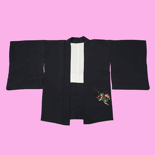 Vintage Black and Red Embroidered Silk Kimono