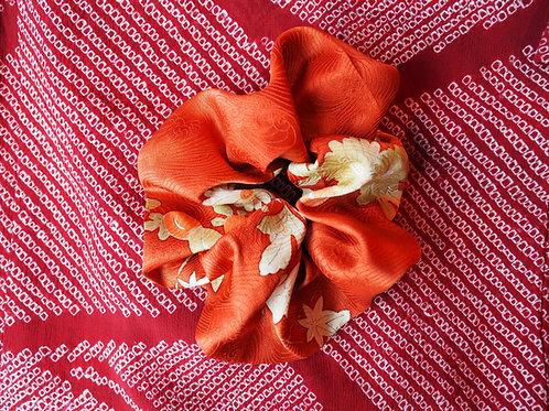 Vintage Orange Kimono Up-cycled Silk Hair Scrunchie