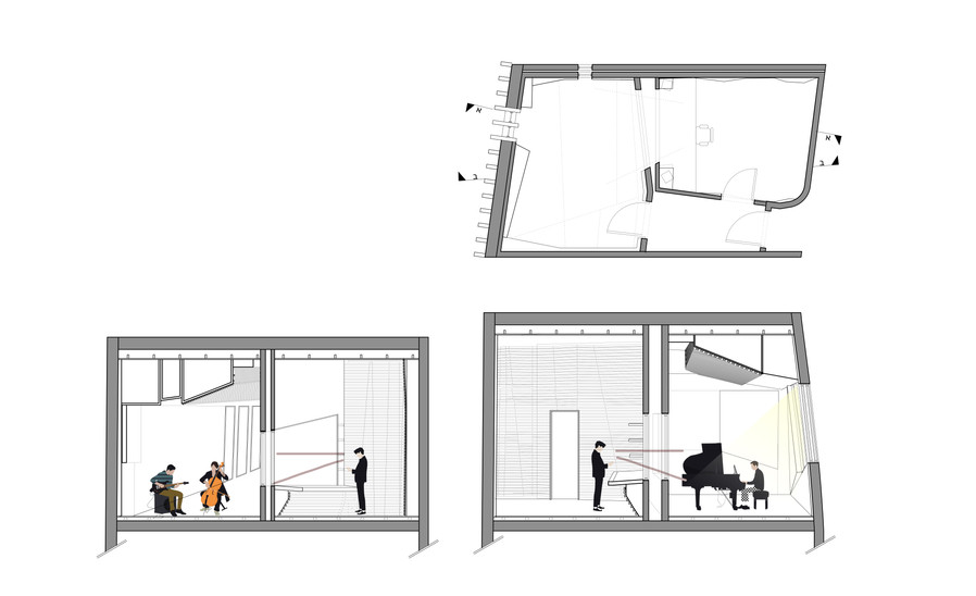 Sections & Plan small recording room