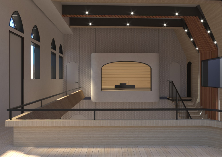 Big recording room - View point to the cotrol room to the