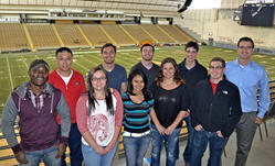 Group photo in the Kibbie Dome (Fall 2014)