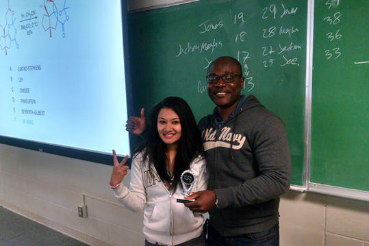 Megha and Jones win the group contest (Fall 2015)