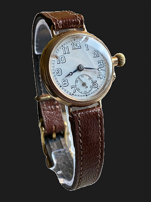 1922 9ct Gold Mid Size Vertex Trench Watch with Borgel Case