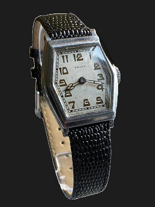 1920's Gruen Gents Hexagonal Tonneau Dress Watch